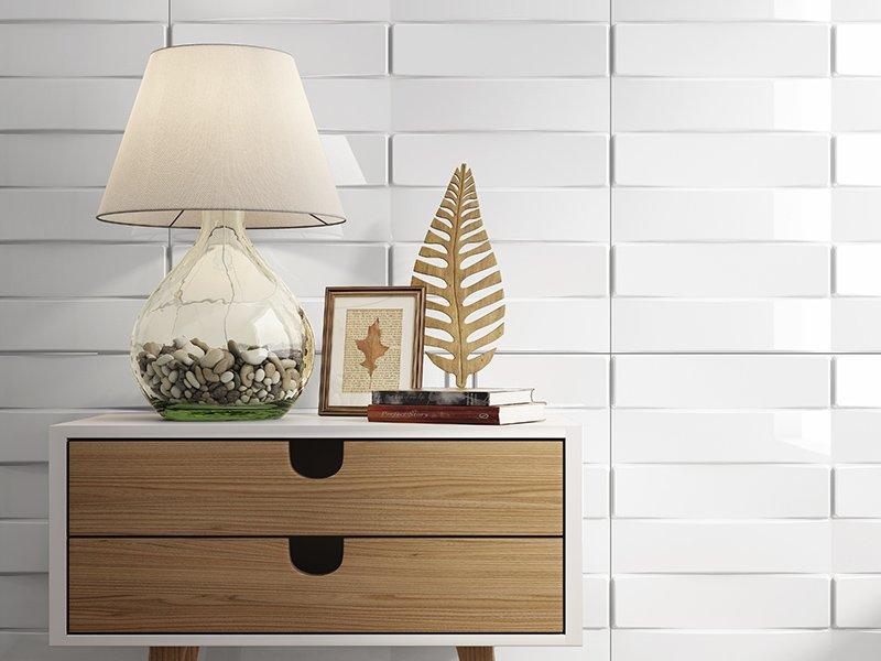 Magnolia 3D Panels. Panel decorativo Thailand blanco brillo. Ambiente hogar